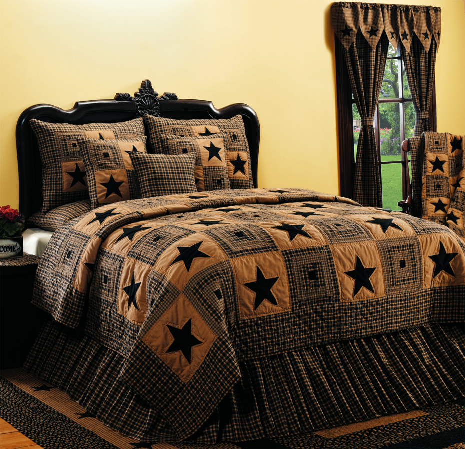 Bedroom decor primitive home decors for Bedroom curtains and bedding
