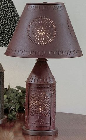 Red Punched Tin Lamp