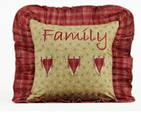 Heartland Family ruffled pillow