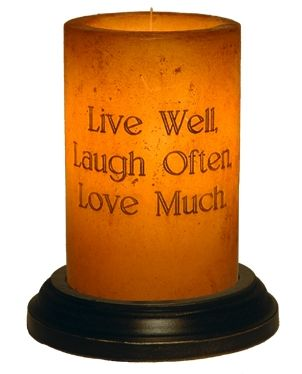 Live Laugh Love candle sleeve