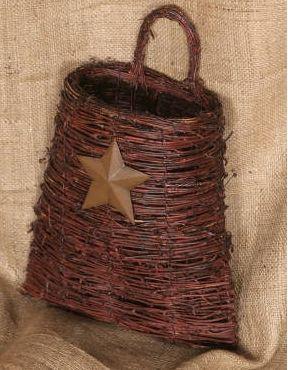 Twig Basket with Tin Star