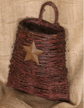 Twig Basket with Tin Star