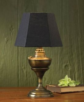 Antique brass table lamp and navy shade