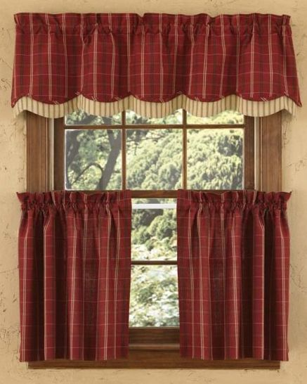Country Red Kitchen Curtains: Primitive Home Decors