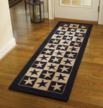 Black star hooked rug