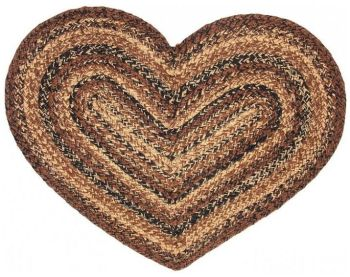 Cappuccino Heart Braided Rug