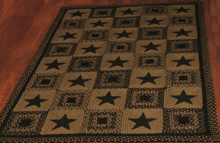 Black Country Star Braided Jute Rug