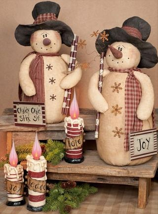 Can D Cane Primitive Snowman Doll