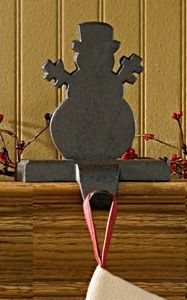 Iron snowman stocking hanger