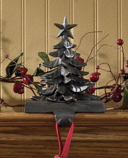 Iron tree stocking hanger