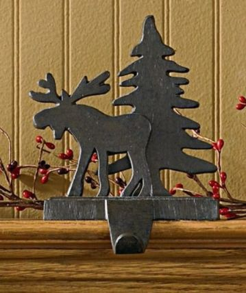 Moose and tree stocking hanger