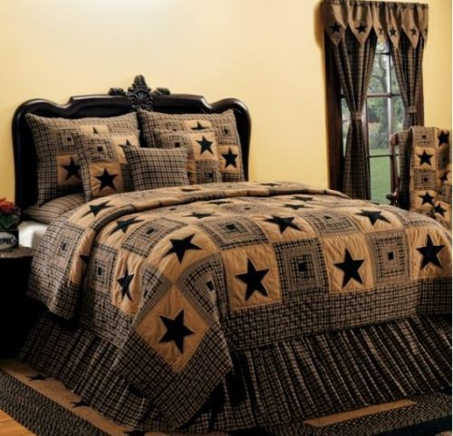 Vintage Star Black bedding set, throw blanket and curtain panels