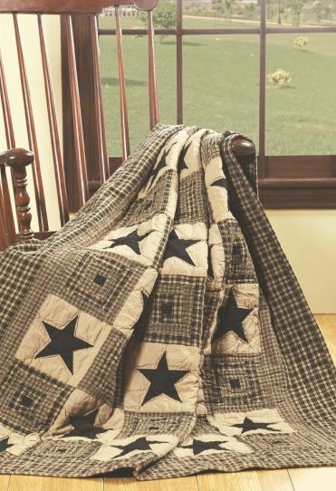 Vintage Star Black Throw Blanket