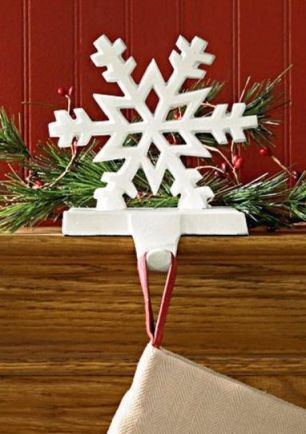 White iron snowflake stocking hanger