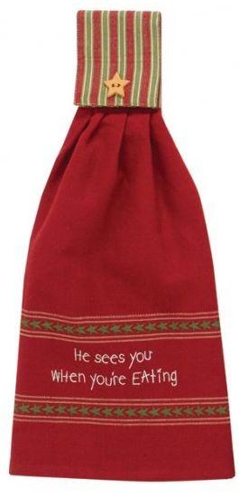 He Sees You Eating Christmas Hand Towel