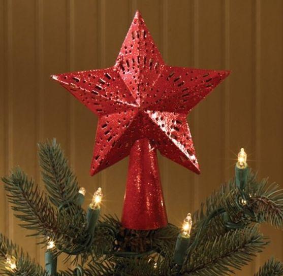 Red Glitter Star Tree Topper