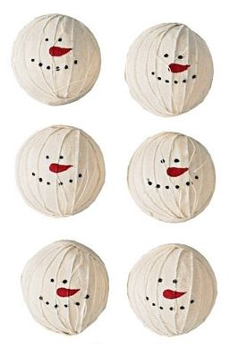 Set of 6 Snowman Rag Balls