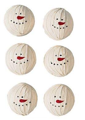 Set of 6 Snowman Rag Balls