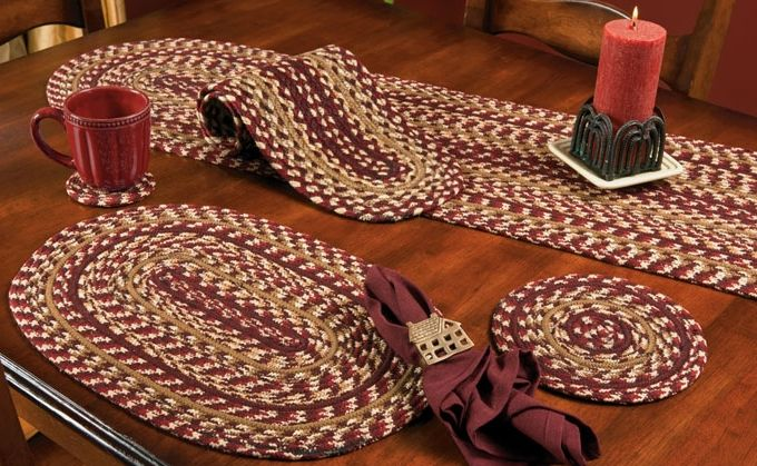Checkerberry braided coaster