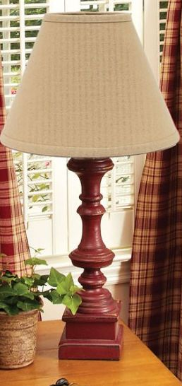 Covington red wooden table lamp