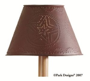 Red star punched tin lamp shade