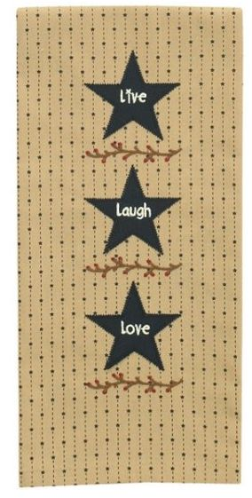 Live Laugh Love embroidered star dish towel