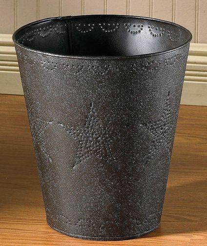 Star punched tin wastebasket