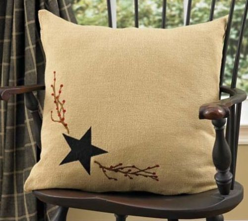 Burlap star decorative pillow