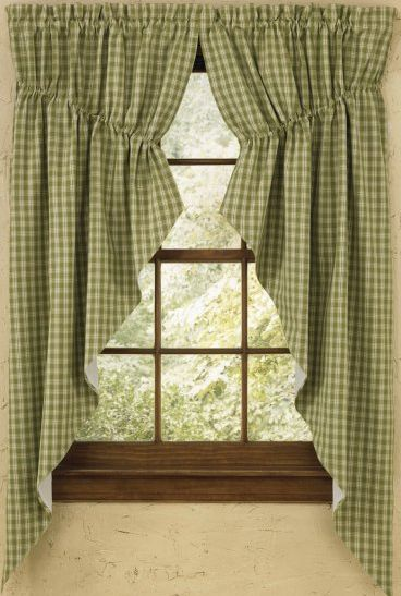 country gathered swag curtains