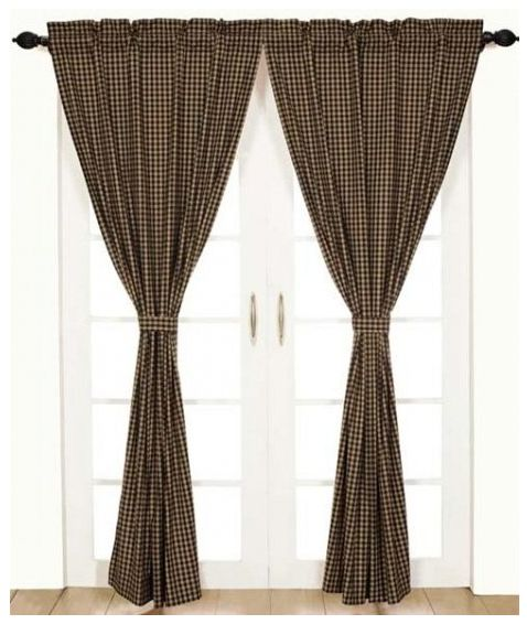 Black check curtain panel