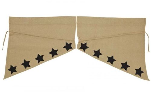 Burlap black star stencil prairie swag