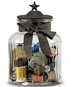 black star glass jar