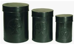 Black star tin canisters