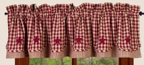 Heritage house check barn red fairfield valance