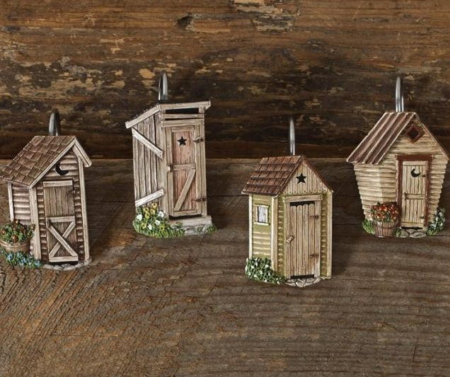 Outhouse shower curtain hooks