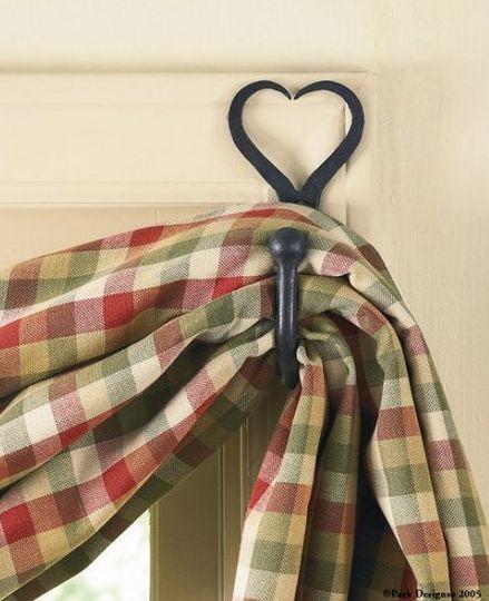 split heart forged iron curtain hook