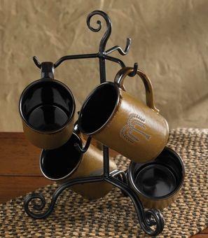 Village scroll mug rack