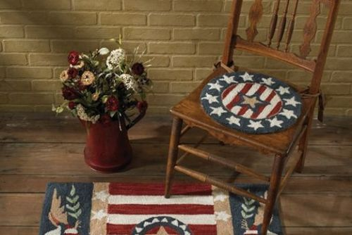 Patriotic hooked chair pad