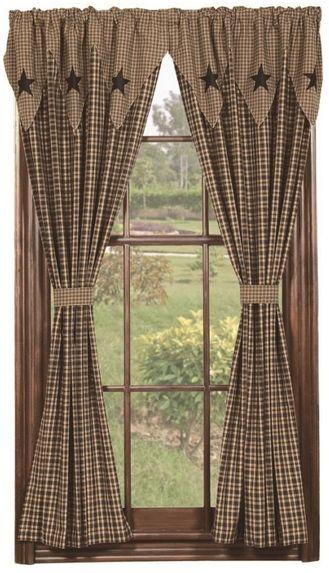 vintage star black curtain panels