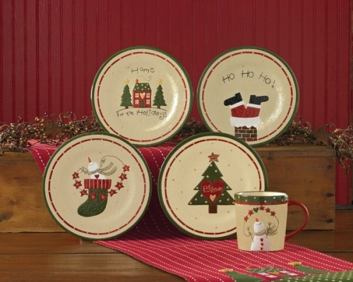 home for the holidays dessert plate set