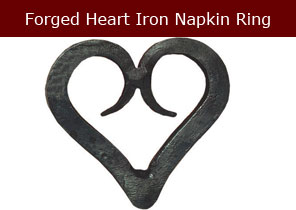 forged heart iron napkin ring