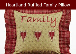 Heartland ruffled family pillow