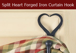 split heart forged iron curtain hook