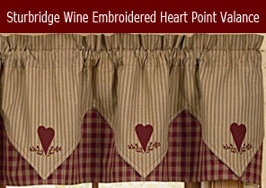 Sturbridge wine embroidered heart point valance