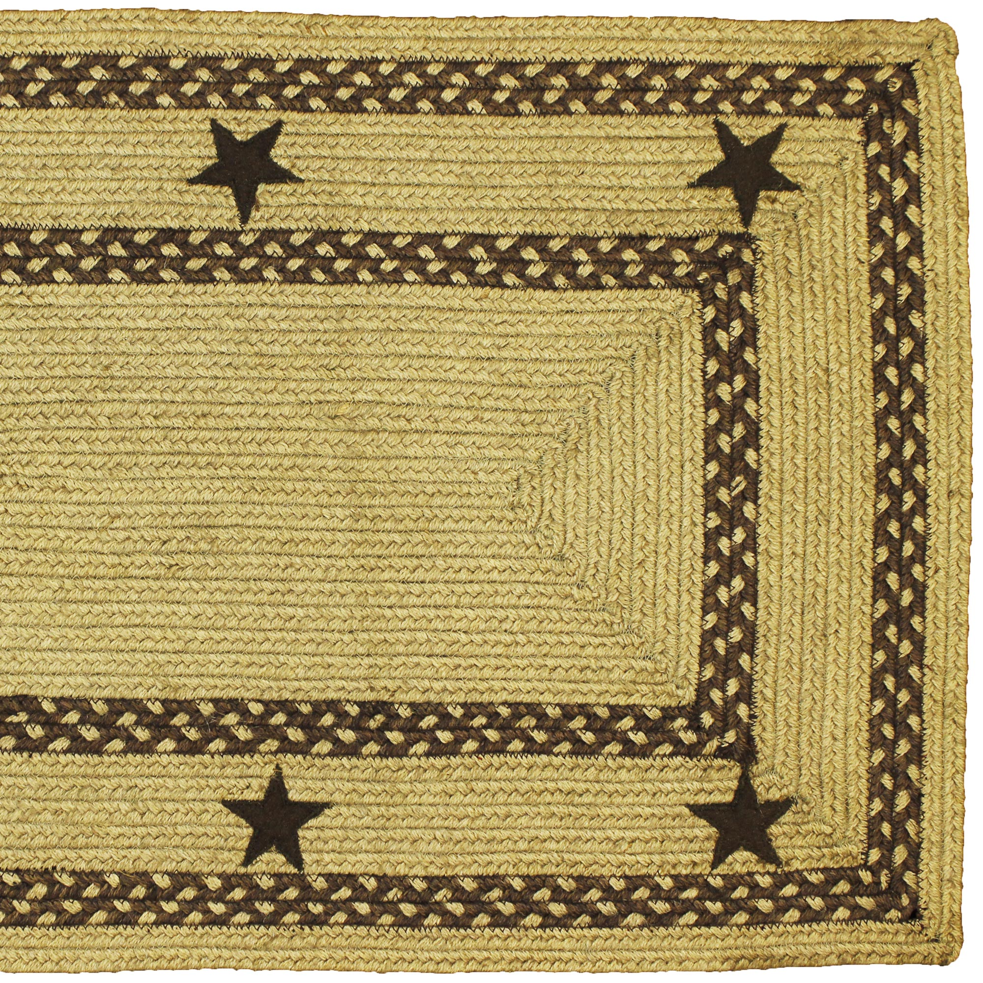 HSD Texas Brown Rectangle Braided Jute Rug Swatch  · Texas Star