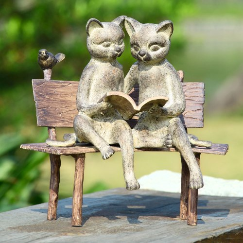 SPI-33675-Reading-Cats-on-Bench-Garden-Sculpture-LRG