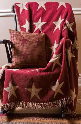 BAS-09292-Burgundy-Star-Woven-Throw